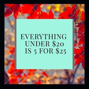 SALE!!!.5 FOR $25 EVERYTHING UNDER $20